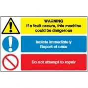 Multiple safety sign - If A Fault Occurs 018
